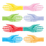 Hands color original woodcut Royalty Free Stock Photography