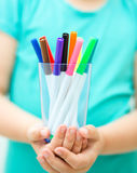 Hands with color pencils Royalty Free Stock Photo