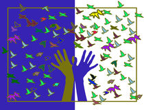 Hands with colored birds Royalty Free Stock Photo