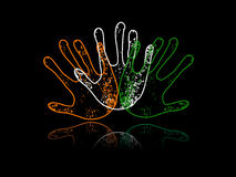 Hands colored in an Indian National flag colors. Royalty Free Stock Photos