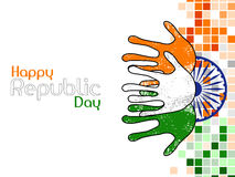 Hands colored in an Indian National flag colors. Stock Images
