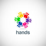 Hands colorful circle logo Stock Photo