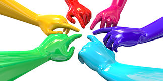 Hands Colorful Circle Pointing Inward Perspective Stock Photos