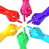 Hands Colorful Circle Pointing Inward Top Royalty Free Stock Photos