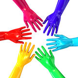 Hands Colorful Circle Reaching Inwards Stock Images