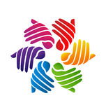 Hands colorful  logo. Hands colored creative logo design vector Stock Photography