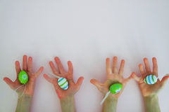 Hands with colorful eggs 2 Royalty Free Stock Image
