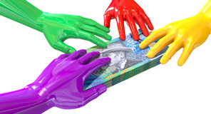 Hands Colorful Grabbing At Australian Dollars Stock Images