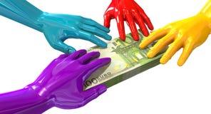 Hands Colorful Grabbing At Euro Notes vector illustration