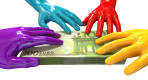 Hands Colorful Grabbing At Euro Notes Royalty Free Stock Images