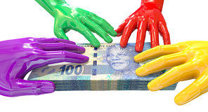 Hands Colorful Grabbing At South African Rands Royalty Free Stock Photo