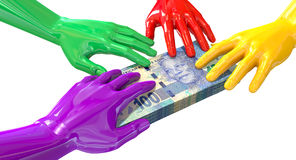 Hands Colorful Grabbing At South African Rands Stock Images