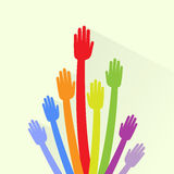 Hands Colorful Palms Up Concept Long Arm Flat Stock Images