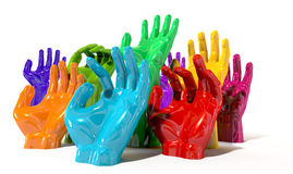 Hands Colorful Reaching Skyward Royalty Free Stock Photo