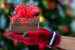Hands in colorful red gloves holding give box with beautiful bow stock photos