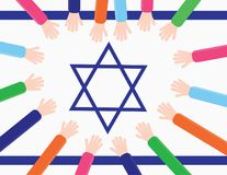 Kids hands creating a heart shape on a Israel flag. Hands with colorful sleeves around the star of david of The israeli flag creating a heart shape stock illustration