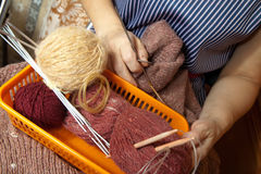 Hands  with colorful wool Stock Photography