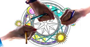 Hands Coloring Mandala Art Design stock video footage