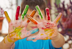 Hands in colors Royalty Free Stock Photography