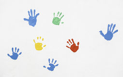 Hands of colors painted on the wall Royalty Free Stock Image