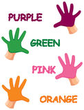 Hands colours with letters Stock Photography