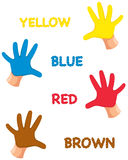 Hands colours with letters. Illustration of isolated hands colours with letters Stock Photos