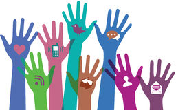 Hands with communication icons. Stock Image