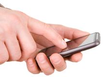 Hands with communicator Stock Images