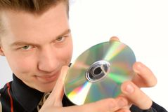 Hands  compact disk Royalty Free Stock Images