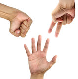 Hands Competition isolated on white background. Gambling Stock Images
