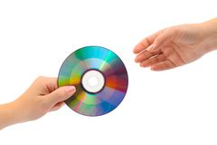 Hands with computer disk Royalty Free Stock Photos