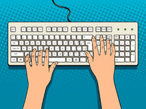 Hands on computer keyboard pop art vector. Hands on computer keyboard comic book pop art retro style vector illustration Royalty Free Stock Photography