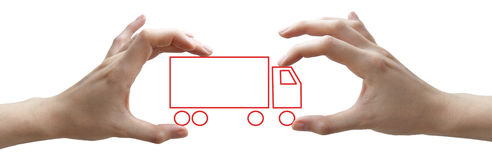 Hands with concept red truck Stock Photos