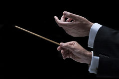 Hands of conductor with baton Stock Image
