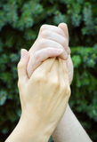 Hands in confidence. Man holding woman´s hand royalty free stock photos