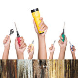 Hands with construction tools. House renovation background Royalty Free Stock Image
