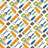 Hands with construction tools seamless pattern background worker equipment house renovation handyman vector illustration Royalty Free Stock Photo