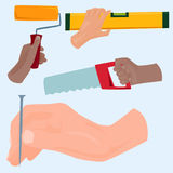 Hands with construction tools vector cartoon style House renovation handyman illustration Stock Images