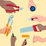 Hands with construction tools vector cartoon style House renovation handyman illustration Royalty Free Stock Photo