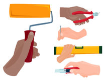 Hands with construction tools vector cartoon style House renovation handyman illustration Stock Photography