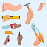 Hands with construction tools vector cartoon style House renovation handyman illustration Royalty Free Stock Photography