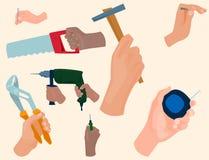 Hands with construction tools vector cartoon style House renovation handyman illustration Royalty Free Stock Photos
