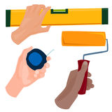 Hands with construction tools vector cartoon style House renovation handyman illustration Stock Image