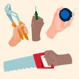 Hands with construction tools vector cartoon style House renovation handyman illustration Stock Photos