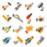 Hands with construction tools vector Stock Images