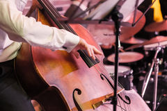 Hands and contrabass Stock Photography