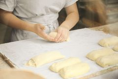 Hands of the cook gently knead dough. Little family bakery stock image