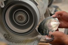 Hands of a Cook Islander man polishing Tahitian Black Pearl she. Ll. Cook Islands Black Pearl Industry is the second largest world supplier generating USD12 stock photos