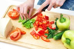 Hands  cooking vegetables salad Royalty Free Stock Image