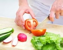 Hands  cooking vegetables salad Royalty Free Stock Photography